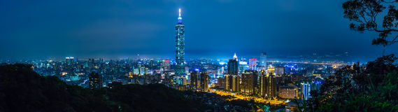 Taipei City at Night, Taiwan Stock Photos