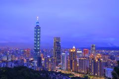 Taipei 101 and city in the night royalty free stock photo