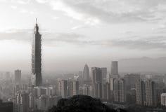 Taipei city skyline black and white Stock Images