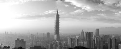 Taipei city skyline panorama black and white Stock Photos