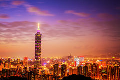 Taipei City Skyline at sunset with the famous Taipei 101 Royalty Free Stock Photography