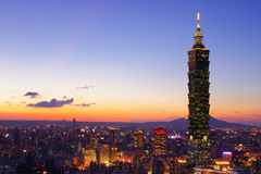 Taipei City Skyline at sunset, Taiwan Stock Image