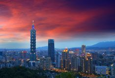 Taipei city skyline sunset, Taiwan. Taipei city panorama, local landmark 101 tower and buildings cityscape at night view royalty free stock photo