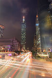 Taipei City Street at Night Royalty Free Stock Photography