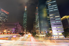 Taipei City Street at Night Royalty Free Stock Image
