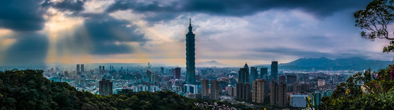 Taipei City Sunset, Taiwan Royalty Free Stock Photos