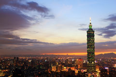 Taipei City at Twilight Stock Photo
