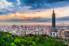 Taipei City View at Evening Stock Photo