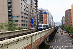 Taipei city view,Taiwan. MRT station with residents,Taipei,Taiwan Royalty Free Stock Images