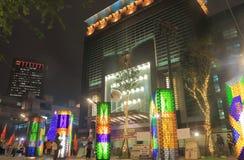 Taipei cityscape Taipei Taiwan för 101 natt Arkivfoto