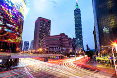 Taipei cityscape at twilight in Taiwan city Royalty Free Stock Images