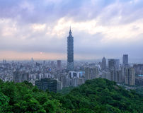 Taipei Cityscape. View from Elephant mountain during dusk period Royalty Free Stock Image