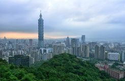 Taipei Cityscape. View from Elephant mountain during dusk period Royalty Free Stock Photography