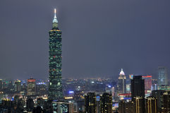 Taipei Cityscape. View from Elephant mountain during dusk period Stock Image