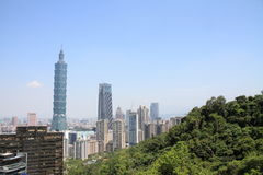 Taipei 101 da montanha de Xiang em Taiwan Foto de Stock Royalty Free