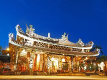 Taipei Dalongdong Baoan Temple at night royalty free stock photography