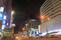 Taipei downtown night cityscape Zhougxiao Xinsheng Taiwan Royalty Free Stock Photos