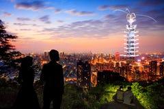 Taipei101 firework show Royalty Free Stock Image