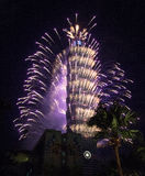Taipei 101 fogos-de-artifício Foto de Stock