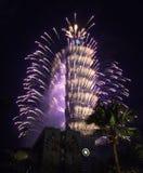 Taipei 101 fuegos artificiales Foto de archivo