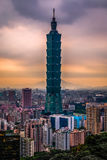 Taipei 101 in HDR, Taiwan. Breathtaking view of Taipei 101 was taken during the afternoon and composed over to an illustrative high-dynamic-range photo royalty free stock photo