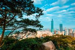 Taipei Landscape from Elephant Mountain. At sunrise Stock Photo