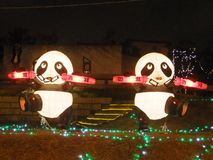 Taipei lantern festival. Chinese panda lanterns light up in Taipei stock illustration