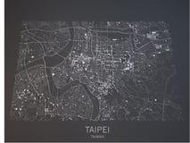 Taipei map, satellite view, Taiwan, 3d Royalty Free Stock Photos
