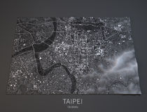 Taipei map, satellite view, Taiwan, 3d. Satellite view of Taipei city center Royalty Free Stock Photo