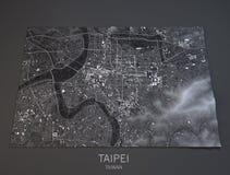 Taipei map, satellite view, Taiwan, 3d Royalty Free Stock Photo