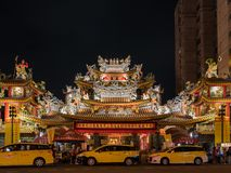 Night view of the Songshan Ciyou Temple. Taipei, MAY 23: Night view of the Songshan Ciyou Temple on MAY 23, 2018 at Taipei, Taiwan Royalty Free Stock Photography