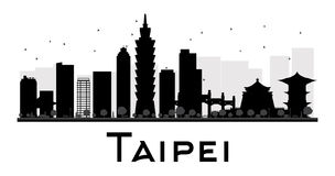Taipei miasta linii horyzontu czarny i biały sylwetka ilustracja wektor