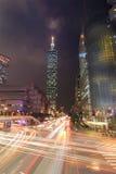 Taipei miasta ulica przy nocą Fotografia Royalty Free
