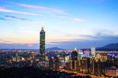 Taipei miasta widok przy nocą Fotografia Stock