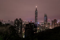 Taipei Night Cityscape. 101 Business Tower. Stock Photography