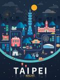 Taipei night flat design. Taiwan travel concept illustration with famous landmarks in night Stock Images