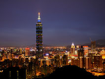 Taipei 101 night scenes. Stand on mountain top for the taipei night scenes Stock Images