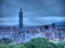 Taipei 101 night scenes. Stand on mountain top for the taipei night scenes Stock Photography
