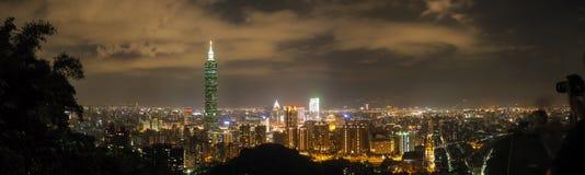 Taipei night skyline panorama. Taipei 101 view from the Elephant mountain royalty free stock photo