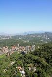 Taipei 101 och cityscape från Maokong, Taiwan Arkivbilder