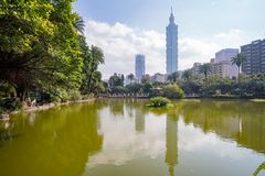 Taipei 101 and other building view from National Dr. Sun Yat-Sen Memorial Hall. At Taipei, Taiwan stock photo