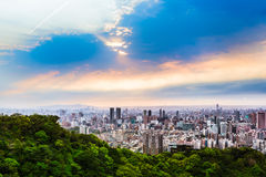 Taipei Outskirts View at Evening Stock Photo