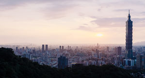 Taipei panorama. Beautiful panorama cityscape of Taipei, Taiwan with Taipei 101 skyscraper Stock Photos