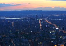 Taipei.Panoramic city skyline at sunset Stock Images
