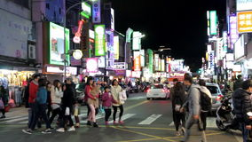 Taipei Shilin Night Market.HD. Taipei, Taiwan, ROC- January 30, 2015: Street view at the Taipei Shilin Night Market, the biggest tour night market in Taipei stock video footage