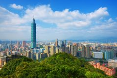 Taipei Skyline. Taipei, Taiwan skyline viewed during the day from Elephant Mountain stock images