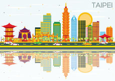 Taipei Skyline with Color Buildings, Blue Sky and Reflections. Royalty Free Stock Photo