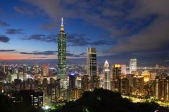 Taipei skyline at dusk, Taiwan stock images