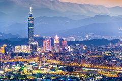 Taipei Skyline. Modern office buildings in Taipei, Taiwan at dusk stock photo