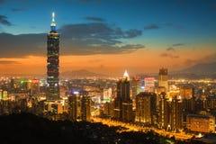 Taipei skyline. Taipei's city skyline at sunset and the famous Taipei 101 Stock Photos